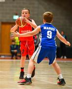27 May 2018;  Freddy O'Mahony, from Castleisland, Co. Kerry, left, and  Danny Harty from Oranmore, Co. Galway, competing in the Basketball U11 & O9 Mixed during Day 2 of the Aldi Community Games May Festival, which saw over 3,500 children take part in a fun-filled weekend at University of Limerick from 26th to 27th May.  Photo by Sam Barnes/Sportsfile