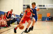 27 May 2018; Cillian O'Sullivan from Castleisland, Co. Kerry, left, and Jamie Egan from Oranmore, Co. Galway, competing in the Basketball U11 & O9 Mixed event during Day 2 of the Aldi Community Games May Festival, which saw over 3,500 children take part in a fun-filled weekend at University of Limerick from 26th to 27th May.  Photo by Sam Barnes/Sportsfile