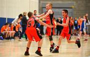 27 May 2018; Kyle Buckley, from Castleisland, Co. Kerry, celebrates with teammates, Mark Curtin, left, and Cillian O'Sullivan after winning a game during Basketball U11 & O9 Mixed event during Day 2 of the Aldi Community Games May Festival, which saw over 3,500 children take part in a fun-filled weekend at University of Limerick from 26th to 27th May.  Photo by Sam Barnes/Sportsfile
