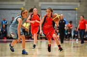 27 May 2018; Tara Kerin from Castleisland, Co. Kerry, right, and Naoise O'Brien from Oranmore, Co. Galway, competing in the Basketball U13 & O10 Girls during Day 2 of the Aldi Community Games May Festival, which saw over 3,500 children take part in a fun-filled weekend at University of Limerick from 26th to 27th May.  Photo by Sam Barnes/Sportsfile