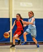 27 May 2018; Rebecca Reidy from Castleisland, Co. Kerry, left, and Naoise O'Brien from Oranmore, Co. Galway, competing in the Basketball U13 & O10 Girls during Day 2 of the Aldi Community Games May Festival, which saw over 3,500 children take part in a fun-filled weekend at University of Limerick from 26th to 27th May.  Photo by Sam Barnes/Sportsfile
