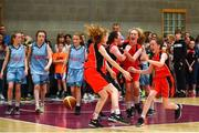 27 May 2018; Players from Castleisland, Co. Kerry  celebrate after winning a game during the Basketball U13 & O10 Girls event during Day 2 of the Aldi Community Games May Festival, which saw over 3,500 children take part in a fun-filled weekend at University of Limerick from 26th to 27th May.  Photo by Sam Barnes/Sportsfile