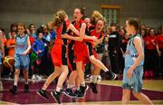27 May 2018; Players from Castleisland, Co. Kerry, including Rebecca Reidy, centre, celebrate after winning a game during the Basketball U13 & O10 Girls event during Day 2 of the Aldi Community Games May Festival, which saw over 3,500 children take part in a fun-filled weekend at University of Limerick from 26th to 27th May.  Photo by Sam Barnes/Sportsfile