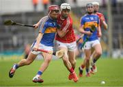 27 May 2018; Kevin Maher of Tipperary in action against Padraic Cullinane of Cork during the Munster GAA Hurling Minor Championship Round 2 match between Tipperary and Cork at Semple Stadium in Thurles, Tipperary. Photo by Eóin Noonan/Sportsfile