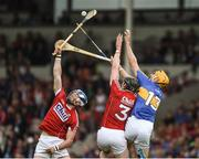 27 May 2018; Seán O'Donoghue, left, and Damien Cahalane of Cork in action against Séamus Callanan of Tipperary during the Munster GAA Hurling Senior Championship Round 2 match between Tipperary and Cork at Semple Stadium in Thurles, Tipperary. Photo by Daire Brennan/Sportsfile