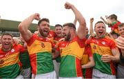 27 May 2018; Carlow players Shane Redmond and Daniel St Ledger celebrate with their team-mates after the Leinster GAA Football Senior Championship Quarter-Final match between Carlow and Kildare at O'Connor Park in Tullamore, Offaly. Photo by Matt Browne/Sportsfile