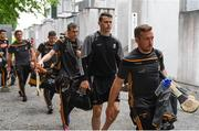 27 May 2018; Kilkenny players, including Richie Hogan, front, and TJ Reid, behind, arrive before the Leinster GAA Hurling Senior Championship Round 3 match between Galway and Kilkenny at Pearse Stadium in Galway. Photo by Piaras Ó Mídheach/Sportsfile