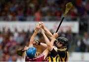 27 May 2018; Enda Morrissey of Kilkenny gathers possession ahead of team-mate Pádraig Walsh and Conor Cooney of Galway during the Leinster GAA Hurling Senior Championship Round 3 match between Galway and Kilkenny at Pearse Stadium in Galway. Photo by Piaras Ó Mídheach/Sportsfile