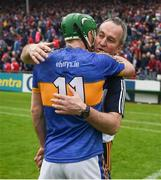 27 May 2018; Tipperary manager Michael Ryan celebrates with Noel McGrath after the Munster GAA Hurling Senior Championship Round 2 match between Tipperary and Cork at Semple Stadium in Thurles, Tipperary. Photo by Daire Brennan/Sportsfile