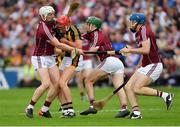 27 May 2018; Cillian Buckley of Kilkenny is tackled by Galway's, from left, Joe Canning, Brian Concannon, and Conor Cooney during the Leinster GAA Hurling Senior Championship Round 3 match between Galway and Kilkenny at Pearse Stadium in Galway. Photo by Piaras Ó Mídheach/Sportsfile