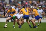 27 May 2018; Tom Devine of Waterford in action against Jamie Shanahan, left, David McInerney, 6, and Patrick O'Connor  of Clare during the Munster GAA Hurling Senior Championship Round 2 match between Clare and Waterford at Cusack Park in Ennis, Co Clare. Photo by Ray McManus/Sportsfile