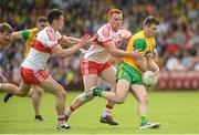 27 May 2018; Eoghan Bán Gallagher of Donegal in action against Kevin Johnston and Conor McAtamney of Derry  during the Ulster GAA Football Senior Championship Quarter-Final match between Derry and Donegal at Celtic Park in Derry. Photo by Oliver McVeigh/Sportsfile