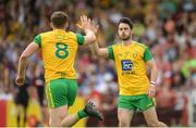 27 May 2018; Hugh McFadden of Donegal celebrates with Ryan McHugh of Donegal after scoring during the Ulster GAA Football Senior Championship Quarter-Final match between Derry and Donegal at Celtic Park in Derry. Photo by Oliver McVeigh/Sportsfile