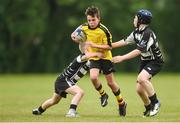 26 May 2018; Marc Clifford of Rosses Point, Co. Sligo, in action against Oscar Monks, left, and Rhys Byrne of Kilcullen, Co. Kildare, during the Mini Rugby event. Over 3,500 children took part in Aldi Community Games May Festival on a sun-drenched, fun-filled weekend in University of Limerick from 26th to 27th May. Photo by Diarmuid Greene/Sportsfile