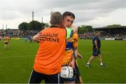 27 May 2018; Clare joint manager Donal Moloney is congratulated by the the Clare full back Conor Cleary after the Munster GAA Hurling Senior Championship Round 2 match between Clare and Waterford at Cusack Park in Ennis, Co Clare. Photo by Ray McManus/Sportsfile