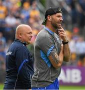 27 May 2018; Waterford selector Dan Shanahan and Waterford manager Derek McGrath, left, watch the last few minutes of the Munster GAA Hurling Senior Championship Round 2 match between Clare and Waterford at Cusack Park in Ennis, Co Clare. Photo by Ray McManus/Sportsfile
