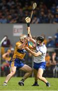 27 May 2018; Conor McGrath of Clare in action against Jamie Barron of Waterford during the Munster GAA Hurling Senior Championship Round 2 match between Clare and Waterford at Cusack Park in Ennis, Co Clare. Photo by Ray McManus/Sportsfile