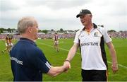27 May 2018; Kilkenny manager Brian Cody shakes hands with Galway manager Micheál Donoghue after the Leinster GAA Hurling Senior Championship Round 3 match between Galway and Kilkenny at Pearse Stadium in Galway. Photo by Piaras Ó Mídheach/Sportsfile