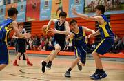 27 May 2018; Matthew Burke from Oranmore, Co. Galway, left, and  Sean Pollmann Daamen from Ballymacelligott, Co. Kerry, competing in the Basketball U16 & O13 Boys event during Day 2 of the Aldi Community Games May Festival, which saw over 3,500 children take part in a fun-filled weekend at University of Limerick from 26th to 27th May.  Photo by Sam Barnes/Sportsfile