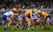 27 May 2018; Players from both sides, including Clare's Conor Cleary, Jamie Shanahan and Patrick O'Connor, right, and Waterford's Michael Walsh and Maurice Shanahan, vie for possession of the sliothar during the Munster GAA Hurling Senior Championship Round 2 match between Clare and Waterford at Cusack Park in Ennis, Co Clare. Photo by Ray McManus/Sportsfile