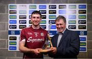 27 May 2018; Michael Lynch, Manager of Kilkenny Mart and Bord Gáis Energy customer, presents the man of the match award to Pádraic Mannion of Galway after the Leinster GAA Hurling Senior Championship Round 3 match between Galway and Kilkenny at Pearse Stadium in Galway. Photo by Piaras Ó Mídheach/Sportsfile