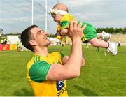 27 May 2018; Paddy McGrath of Donegal and his 3 month old daughter, Isla Rose, after the Ulster GAA Football Senior Championship Quarter-Final match between Derry and Donegal at Celtic Park in Derry. Photo by Oliver McVeigh/Sportsfile