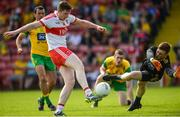 27 May 2018; Emmet Bradley of Derry has his shot saved by Shaun Patton of Donegal during the Ulster GAA Football Senior Championship Quarter-Final match between Derry and Donegal at Celtic Park in Derry. Photo by Oliver McVeigh/Sportsfile