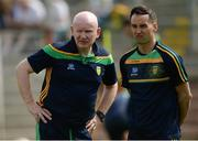 27 May 2018; Donegal manager Declan Bonner, left, and Karl Lacey Donegal selector during the Ulster GAA Football Senior Championship Quarter-Final match between Derry and Donegal at Celtic Park in Derry. Photo by Oliver McVeigh/Sportsfile