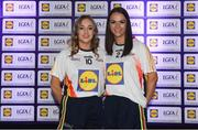 25 May 2018; The 2018 Lidl Teams of the Ladies National Football League awards were presented at Croke Park on Friday, May 25. The best players from the four divisions in the Lidl National Leagues have been selected, following nominations from opposition managers. Players receiving the most votes were selected in their positions on the Lidl Teams of the League. Pictured are Armagh winners Sarah Marley, left, and Aoife McCoy. Croke Park, Dublin. Photo by Piaras Ó Mídheach/Sportsfile