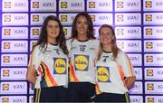 25 May 2018; The 2018 Lidl Teams of the Ladies National Football League awards were presented at Croke Park on Friday, May 25. The best players from the four divisions in the Lidl National Leagues have been selected, following nominations from opposition managers. Players receiving the most votes were selected in their positions on the Lidl Teams of the League. Pictured are Limerick winners, from left, Shauna Ryan, Mairead Kavanagh, and Olivia Giltenane. Croke Park, Dublin. Photo by Piaras Ó Mídheach/Sportsfile