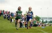 27 May 2018; Orla O'Shaughnessy, from Ballybrown - Clarina, Limerick, left, and Abbey Doherty, from Baltinglass, Co. Wicklow, competing in the Girls u12 Relay Final during Day 2 of the Aldi Community Games May Festival, which saw over 3,500 children take part in a fun-filled weekend at University of Limerick from 26th to 27th May. Photo by Diarmuid Greene/Sportsfile