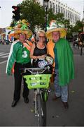 28 May 2018; Republic of Ireland supporters Frankie Murrin, from Killybegs, left, with Bobby Cunningham, from Kilcar, right, with a Parisian in Paris prior to the International Friendly match between France and Republic of Ireland at Stade de France in Paris, France. Photo by Stephen McCarthy/Sportsfile