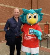 26 May 2018; Aldi Community Games ambassador Paul O'Connell with Community Games mascot Oltan the Owl during day 1 of the Aldi Community Games. Over 3,500 children took part in Aldi Community Games May Festival on a sun-drenched, fun-filled weekend in University of Limerick from 26th to 27th May. Photo by Diarmuid Greene/Sportsfile