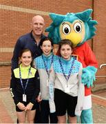 26 May 2018; Aldi Community Games ambassador Paul O'Connell and Community Games mascot Oltan the Owl along with Sophie Coughlan and Saoirse Doran from Thurles, and Kate Ralph from Moycarkey-Borris, Co. Tipperary, during day 1 of the Aldi Community Games. Over 3,500 children took part in Aldi Community Games May Festival on a sun-drenched, fun-filled weekend in University of Limerick from 26th to 27th May. Photo by Diarmuid Greene/Sportsfile