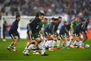 28 May 2018; Declan Rice of the Republic of Ireland warms up prior to the International Friendly match between France and Republic of Ireland at Stade de France in Paris, France. Photo by Seb Daly/Sportsfile