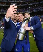 26 May 2018; Fergus McFadden, left, Luke McGrath, centre, and Cathal Marsh of Leinster following their victory in the Guinness PRO14 Final between Leinster and Scarlets at the Aviva Stadium in Dublin. Photo by Ramsey Cardy/Sportsfile