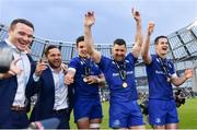 26 May 2018; Leinster players, from left, Peter Dooley, Jamison Gibson-Park, Joey Carbery, Rob Kearney and Jonathan Sexton, celebrate following their victory in the Guinness PRO14 Final between Leinster and Scarlets at the Aviva Stadium in Dublin. Photo by Ramsey Cardy/Sportsfile