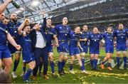 26 May 2018; Leinster players, from left, Jack McGrath, Scott Fardy, Luke McGrath, Fergus McFadden, James Ryan, Devin Toner, Nick McCarthy, Jack Conan, Tadhg Furlong, Garry Ringrose and Jordi Murphy, celebrate following their victory in the Guinness PRO14 Final between Leinster and Scarlets at the Aviva Stadium in Dublin. Photo by Ramsey Cardy/Sportsfile