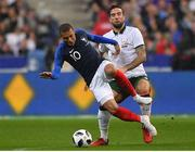 28 May 2018; Kylian Mbappe of France in action against Shane Duffy of Republic of Ireland during the International Friendly match between France and Republic of Ireland at Stade de France in Paris, France. Photo by Seb Daly/Sportsfile