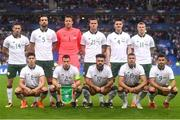 28 May 2018; The Republic of Ireland team, back row, from left to right, Alan Browne, Shane Duffy, Colin Doyle, Kevin Long, Declan Rice and James McClean. Front row, from left to right, Callum O'Dowda, Seamus Coleman, Derrick Williams, Jonathan Walters and Shane Long prior to the International Friendly match between France and Republic of Ireland at Stade de France in Paris, France. Photo by Stephen McCarthy/Sportsfile