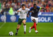 28 May 2018; Seamus Coleman of Republic of Ireland in action against Blaise Matuidi of France during the International Friendly match between France and Republic of Ireland at Stade de France in Paris, France. Photo by Seb Daly/Sportsfile