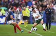 28 May 2018; Shane Long of Republic of Ireland in action against Adil Rami of France during the International Friendly match between France and Republic of Ireland at Stade de France in Paris, France. Photo by Stephen McCarthy/Sportsfile
