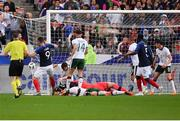 28 May 2018; Oliver Giroud of France shoots to score his side's first goal during the International Friendly match between France and Republic of Ireland at Stade de France in Paris, France. Photo by Seb Daly/Sportsfile