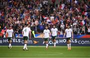 28 May 2018; Republic of Ireland players, from right to left Callum O'Dowda, Shane Duffy, Shane Long, Declan Rice and Alan Browne react after their side conceeded their first goal during the International Friendly match between France and Republic of Ireland at Stade de France in Paris, France. Photo by Stephen McCarthy/Sportsfile
