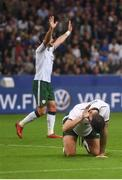 28 May 2018; Shane Duffy and Shane Long of Republic of Ireland react after a missed chance during the International Friendly match between France and Republic of Ireland at Stade de France in Paris, France. Photo by Stephen McCarthy/Sportsfile