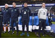 28 May 2018; Republic of Ireland manager Martin O'Neill, right, with assistants, from right, Roy Keane, Steve Guppy, Seamus McDonagh prior to the International Friendly match between France and Republic of Ireland at Stade de France in Paris, France. Photo by Stephen McCarthy/Sportsfile