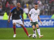 28 May 2018; Shaun Williams of the Republic of Ireland in action against Steven Nzonzi of France during the International Friendly match between France and Republic of Ireland at Stade de France in Paris, France. Photo by Seb Daly/Sportsfile