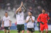 28 May 2018; Republic of Ireland players, from left, Shaun Williams, Shane Duffy, Harry Arter and Colin Doyle following the International Friendly match between France and Republic of Ireland at Stade de France in Paris, France. Photo by Stephen McCarthy/Sportsfile