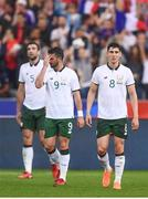 28 May 2018; Callum O'Dowda, right, Shane Long, centre, and Shane Duffy of Republic of Ireland react after their side conceeded their first goal during the International Friendly match between France and Republic of Ireland at Stade de France in Paris, France. Photo by Stephen McCarthy/Sportsfile
