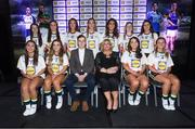 25 May 2018; The 2018 Lidl Teams of the Ladies National Football League awards were presented at Croke Park on Friday, May 25. The best players from the four divisions in the Lidl National Leagues have been selected, following nominations from opposition managers. Players receiving the most votes were selected in their positions on the Lidl Teams of the League. The Lidl Division 4 Team of the League is pictured with Ladies Gaelic Football Association President, Marie Hickey, and Lidl Ireland Sponsorship Manager, Jay Wilson. Croke Park, Dublin. Photo by Piaras Ó Mídheach/Sportsfile
